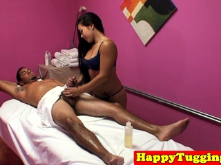 Asian masseuse dickriding and blowing customer