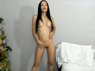 Young asian petite babe slim and sexy unmask