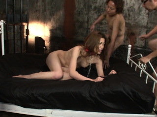 Yui Tachiki is having a echo while sucking together with shafting