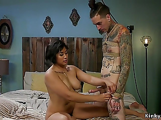Oriental femdomgoddess makes stud take up with the tongue her vagina