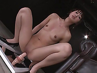 Riding a lengthy lifelike vibrator makes the Oriental beauty squirt