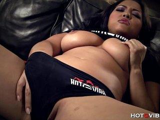 Naturally Busty Asian has Screaming Orgasm