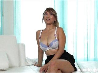 Blonde amateur asian with big tits sucks