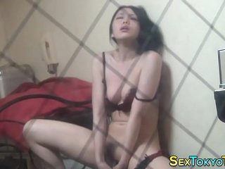 Asian babe toying muff