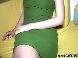 Joy with a thai tranny and her cum overspread glamorous asshole